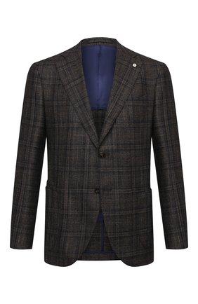 Мужской пиджак из шерсти и кашемира L.B.M. 1911 коричневого цвета, арт. 2411/02139 | Фото 1