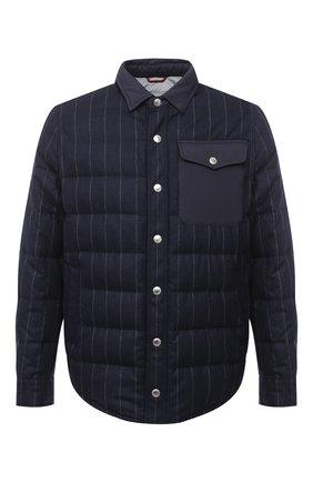 Мужская пуховая куртка BRUNELLO CUCINELLI темно-синего цвета, арт. MN4721745 | Фото 1 (Длина (верхняя одежда): Короткие; Рукава: Длинные; Материал внешний: Шерсть; Материал подклада: Синтетический материал; Мужское Кросс-КТ: Верхняя одежда, Пуховик-верхняя одежда, пуховик-короткий; Стили: Кэжуэл; Кросс-КТ: Пуховик, Куртка; Материал утеплителя: Пух и перо)