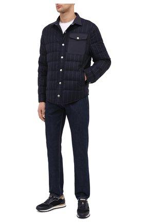 Мужская пуховая куртка BRUNELLO CUCINELLI темно-синего цвета, арт. MN4721745 | Фото 2 (Длина (верхняя одежда): Короткие; Рукава: Длинные; Материал внешний: Шерсть; Материал подклада: Синтетический материал; Мужское Кросс-КТ: Верхняя одежда, Пуховик-верхняя одежда, пуховик-короткий; Стили: Кэжуэл; Кросс-КТ: Пуховик, Куртка; Материал утеплителя: Пух и перо)