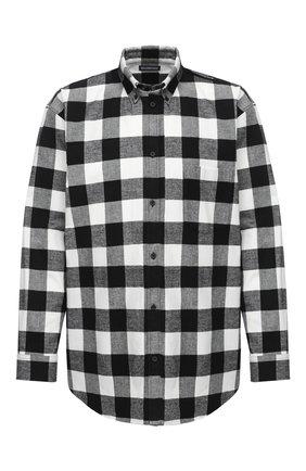 Мужская хлопковая рубашка BALENCIAGA черно-белого цвета, арт. 621901/TIM20 | Фото 1