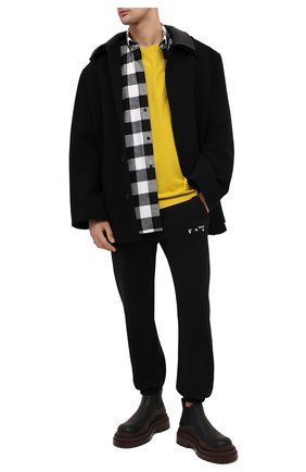 Мужская хлопковая рубашка BALENCIAGA черно-белого цвета, арт. 621901/TIM20 | Фото 2