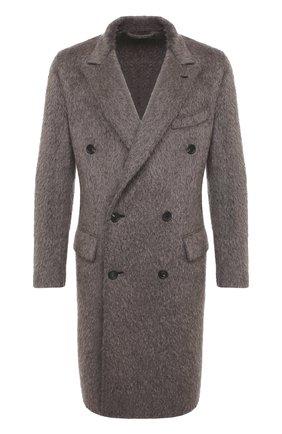 Мужской шерстяное пальто BRIONI серого цвета, арт. R0I50L/09345 | Фото 1 (Материал внешний: Шерсть; Длина (верхняя одежда): До колена; Рукава: Длинные; Мужское Кросс-КТ: Верхняя одежда, пальто-верхняя одежда; Стили: Кэжуэл)