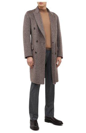 Мужской шерстяное пальто BRIONI серого цвета, арт. R0I50L/09345 | Фото 2 (Материал внешний: Шерсть; Длина (верхняя одежда): До колена; Рукава: Длинные; Мужское Кросс-КТ: Верхняя одежда, пальто-верхняя одежда; Стили: Кэжуэл)