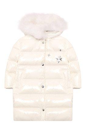 Детское пуховое пальто YVES SALOMON ENFANT белого цвета, арт. 21WEM011LGD0BR/4-6 | Фото 1