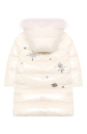 Детское пуховое пальто YVES SALOMON ENFANT белого цвета, арт. 21WEM011LGD0BR/4-6 | Фото 2
