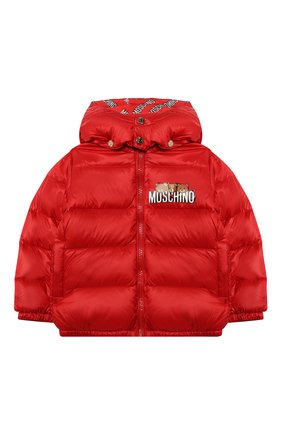 Детского пуховая куртка MOSCHINO красного цвета, арт. MXS015/L3A32 | Фото 1