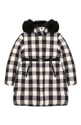 Детское пуховое пальто MONCLER черно-белого цвета, арт. F2-954-1C511-12-539YJ/12-14A | Фото 1