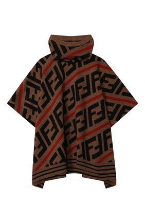 Детское шерстяное пончо FENDI красного цвета, арт. JFQ039/A2M4 | Фото 1