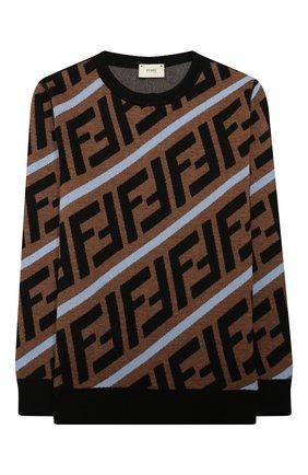 Детский шерстяной пуловер FENDI бежевого цвета, арт. JMG066/A8L7/3A-6A   Фото 1 (Материал внешний: Шерсть; Рукава: Длинные; Мальчики Кросс-КТ: Пуловер-одежда; Ростовка одежда: 4 года   104 см, 5 лет   110 см, 6 лет   116 см)
