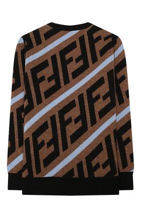 Детский шерстяной пуловер FENDI бежевого цвета, арт. JMG066/A8L7/3A-6A   Фото 2 (Материал внешний: Шерсть; Рукава: Длинные; Мальчики Кросс-КТ: Пуловер-одежда; Ростовка одежда: 4 года   104 см, 5 лет   110 см, 6 лет   116 см)
