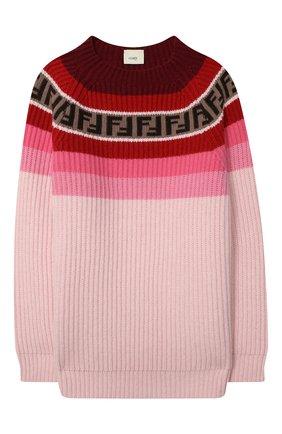 Детский пуловер из шерсти и вискозы FENDI розового цвета, арт. JUG005/GM4/8A-12+ | Фото 1