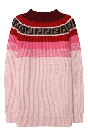 Детский пуловер из шерсти и вискозы FENDI розового цвета, арт. JUG005/GM4/8A-12+ | Фото 2