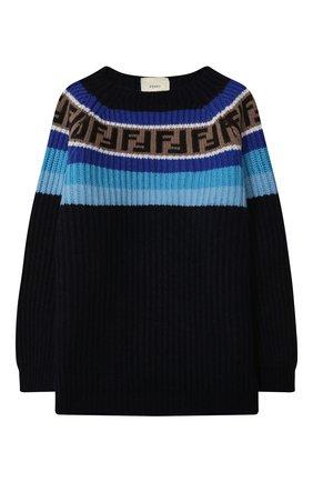 Детский пуловер из шерсти и вискозы FENDI синего цвета, арт. JUG005/GM4/3A-6A | Фото 1
