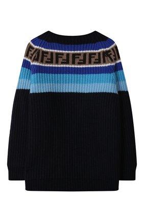 Детский пуловер из шерсти и вискозы FENDI синего цвета, арт. JUG005/GM4/3A-6A | Фото 2