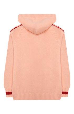 Детский кашемировый кардиган с капюшоном FENDI розового цвета, арт. JUG006/A8LH/8A-12+ | Фото 2