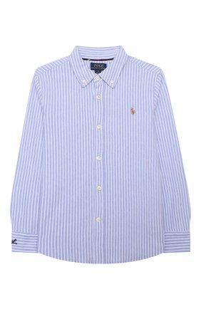 Детская хлопковая рубашка POLO RALPH LAUREN голубого цвета, арт. 322799249 | Фото 1 (Рукава: Длинные; Материал внешний: Хлопок; Стили: Классический)