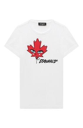 Детская хлопковая футболка DSQUARED2 белого цвета, арт. DQ04BS-D00X0 | Фото 1