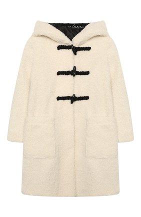 Детское пальто с капюшоном ERMANNO SCERVINO бежевого цвета, арт. 47I CP17 VINV/10-16 | Фото 1