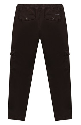 Детские хлопковые брюки DOLCE & GABBANA темно-коричневого цвета, арт. L43P46/LT367/8-14 | Фото 2