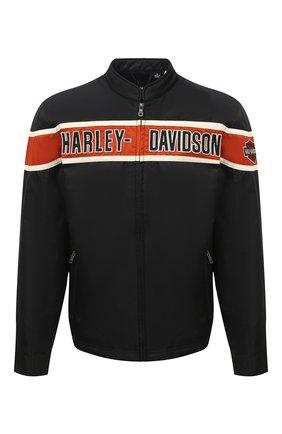 Мужская куртка genuine motorclothes HARLEY-DAVIDSON черного цвета, арт. 98537-14VM | Фото 1 (Материал подклада: Синтетический материал; Длина (верхняя одежда): Короткие; Рукава: Длинные; Материал внешний: Синтетический материал; Мужское Кросс-КТ: Верхняя одежда, Куртка-верхняя одежда; Кросс-КТ: Ветровка, Куртка)