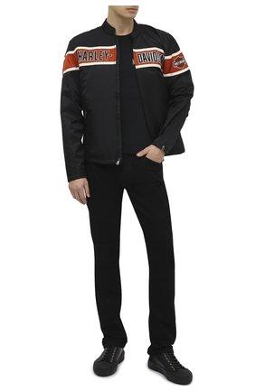 Мужская куртка genuine motorclothes HARLEY-DAVIDSON черного цвета, арт. 98537-14VM | Фото 2 (Материал подклада: Синтетический материал; Длина (верхняя одежда): Короткие; Рукава: Длинные; Материал внешний: Синтетический материал; Мужское Кросс-КТ: Верхняя одежда, Куртка-верхняя одежда; Кросс-КТ: Ветровка, Куртка)