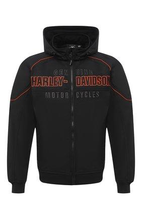 Мужской бомбер genuine motorclothes HARLEY-DAVIDSON черного цвета, арт. 98555-15VM | Фото 1 (Материал внешний: Синтетический материал; Длина (верхняя одежда): Короткие; Рукава: Длинные; Мужское Кросс-КТ: Верхняя одежда; Кросс-КТ: Куртка)