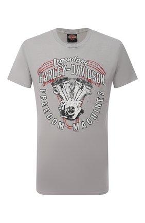 Мужская хлопковая футболка exclusive for moscow HARLEY-DAVIDSON светло-серого цвета, арт. R003702 | Фото 1