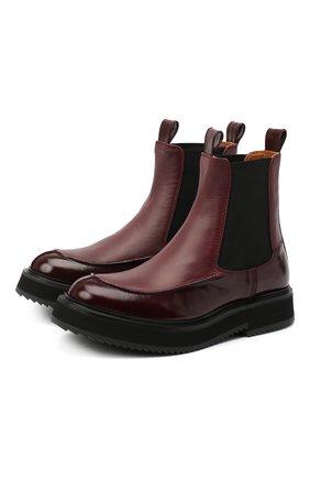 Женские комбинированные ботинки JOSEPH бордового цвета, арт. J035026A/12071   Фото 1