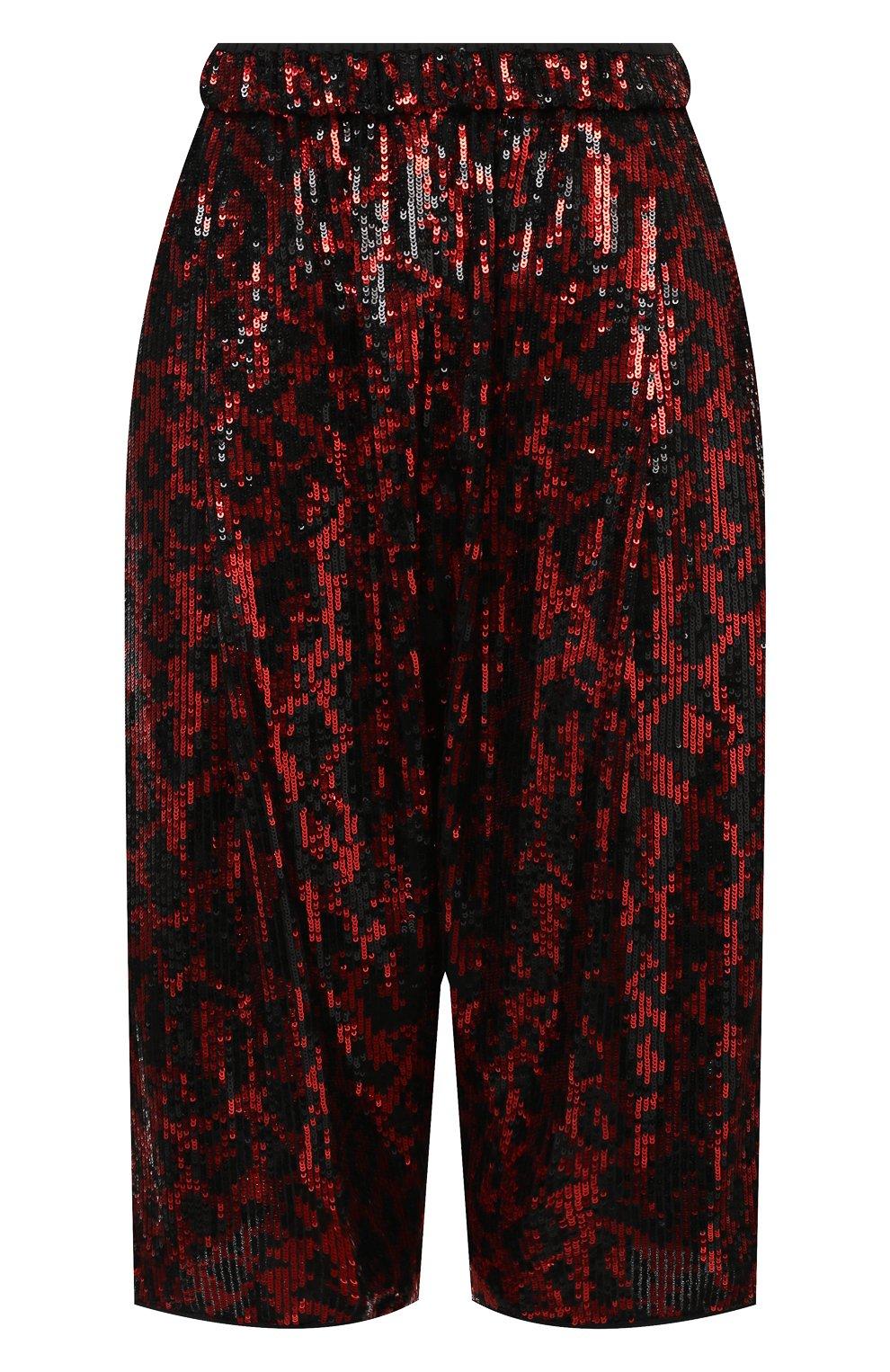 Женские шорты с пайетками N21 красного цвета, арт. 20I N2M0/D011/5A45 | Фото 1 (Женское Кросс-КТ: Шорты-одежда; Стили: Гламурный; Материал внешний: Синтетический материал; Кросс-КТ: Широкие; Длина Ж (юбки, платья, шорты): До колена)