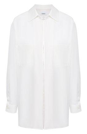 Женская шелковая рубашка BURBERRY белого цвета, арт. 4566904   Фото 1 (Материал подклада: Шелк; Материал внешний: Шелк; Рукава: Длинные; Женское Кросс-КТ: Рубашка-одежда; Стили: Минимализм; Принт: Без принта; Длина (для топов): Удлиненные)