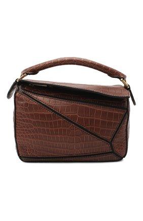 Женская сумка puzzle mini из кожи крокодила LOEWE коричневого цвета, арт. 329.25.U95/CP0R | Фото 1