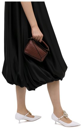 Женская сумка puzzle mini из кожи крокодила LOEWE коричневого цвета, арт. 329.25.U95/CP0R | Фото 2
