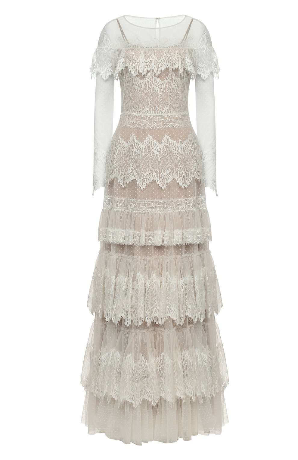 Женское платье ZUHAIR MURAD белого цвета, арт. DRP20038/LMIX007   Фото 1 (Материал внешний: Шелк, Синтетический материал; Рукава: Длинные; Стили: Романтичный; Материал подклада: Шелк; Женское Кросс-КТ: Платье-одежда)