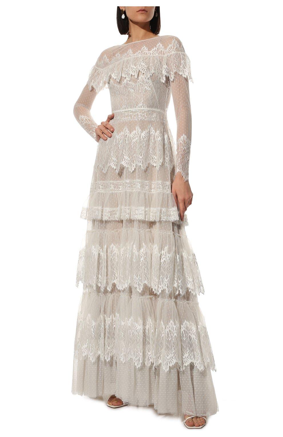 Женское платье ZUHAIR MURAD белого цвета, арт. DRP20038/LMIX007   Фото 2 (Материал внешний: Шелк, Синтетический материал; Рукава: Длинные; Стили: Романтичный; Материал подклада: Шелк; Женское Кросс-КТ: Платье-одежда)