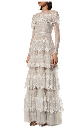 Женское платье ZUHAIR MURAD белого цвета, арт. DRP20038/LMIX007   Фото 3 (Материал внешний: Шелк, Синтетический материал; Рукава: Длинные; Стили: Романтичный; Материал подклада: Шелк; Женское Кросс-КТ: Платье-одежда)