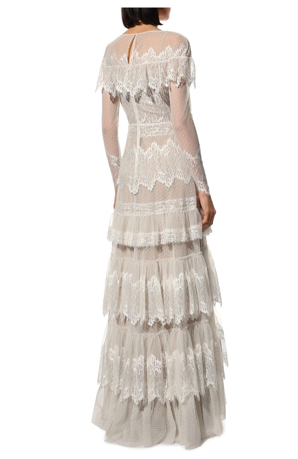 Женское платье ZUHAIR MURAD белого цвета, арт. DRP20038/LMIX007   Фото 4 (Материал внешний: Шелк, Синтетический материал; Рукава: Длинные; Стили: Романтичный; Материал подклада: Шелк; Женское Кросс-КТ: Платье-одежда)