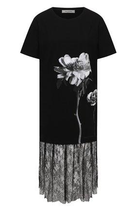 Женское хлопковое платье VALENTINO черно-белого цвета, арт. UB0MJ02N5YK | Фото 1