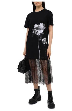 Женское хлопковое платье VALENTINO черно-белого цвета, арт. UB0MJ02N5YK | Фото 2
