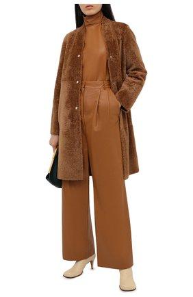 Женские кожаные брюки JOSEPH коричневого цвета, арт. JF005121 | Фото 2