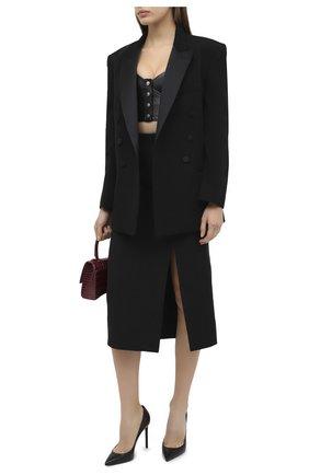 Женский кожаный топ SAINT LAURENT черного цвета, арт. 639628/YCDI2 | Фото 2