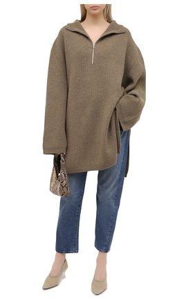 Женский шерстяной свитер TOTÊME хаки цвета, арт. T0MAR 204-549-750 | Фото 2