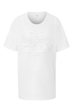 Женская хлопковая футболка Y`S белого цвета, арт. YB-T09-673 | Фото 1
