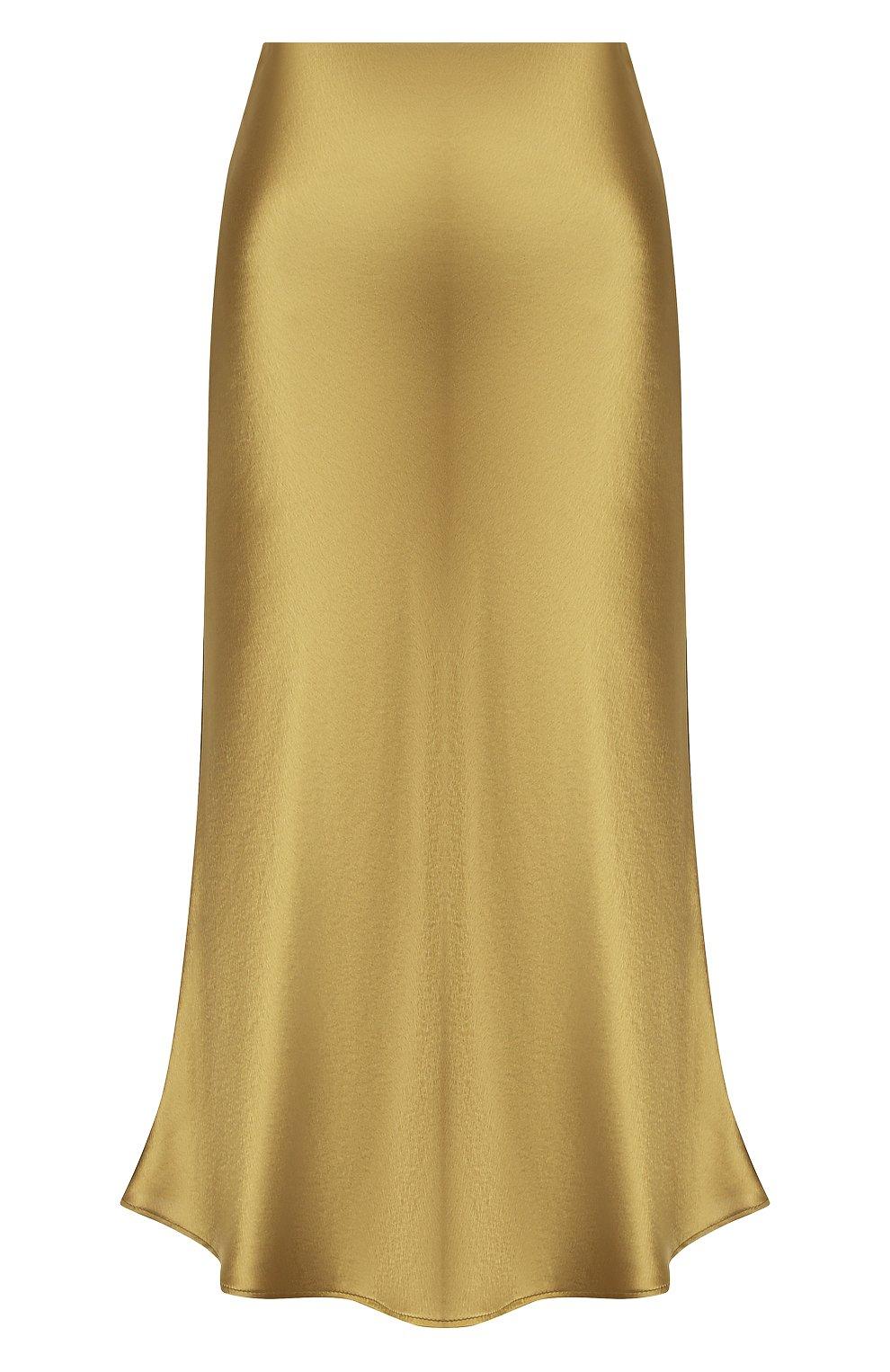 Женская юбка GALVAN LONDON золотого цвета, арт. 120SGSK4000   Фото 1 (Материал внешний: Синтетический материал; Женское Кросс-КТ: Юбка-одежда; Длина Ж (юбки, платья, шорты): Миди)