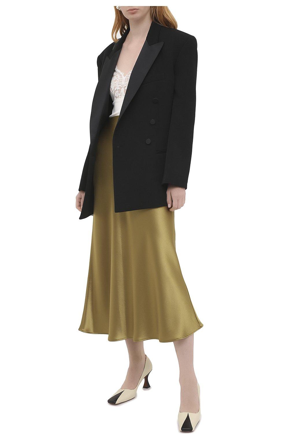 Женская юбка GALVAN LONDON золотого цвета, арт. 120SGSK4000   Фото 2 (Материал внешний: Синтетический материал; Женское Кросс-КТ: Юбка-одежда; Длина Ж (юбки, платья, шорты): Миди)