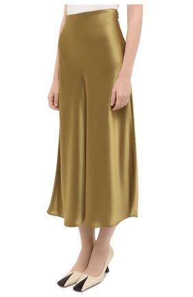 Женская юбка GALVAN LONDON золотого цвета, арт. 120SGSK4000   Фото 3 (Материал внешний: Синтетический материал; Женское Кросс-КТ: Юбка-одежда; Длина Ж (юбки, платья, шорты): Миди)