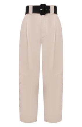 Женские кожаные брюки TWINS FLORENCE кремвого цвета, арт. TWFAI20PAN0002C | Фото 1