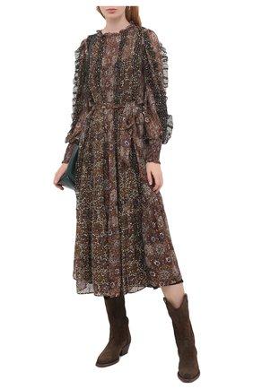 Женское шелковое платье ULLA JOHNSON черного цвета, арт. FA200114 | Фото 2
