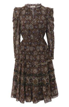 Женское шелковое платье ULLA JOHNSON черного цвета, арт. FA200124 | Фото 1
