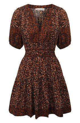 Женское хлопковое платье ULLA JOHNSON леопардового цвета, арт. PF200115 | Фото 1