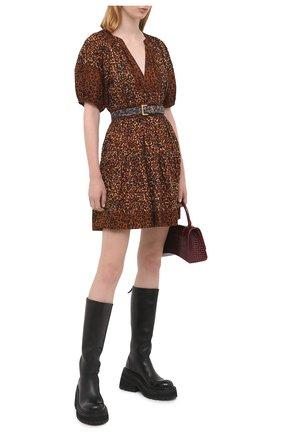 Женское хлопковое платье ULLA JOHNSON леопардового цвета, арт. PF200115 | Фото 2